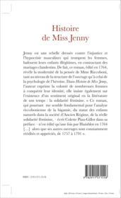 Histoire de missJJenny 1764 - Couverture - Format classique