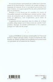 Les Groupes Parlementaires Au Senat Sous La 5e Republique - 4ème de couverture - Format classique