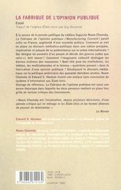 La Fabrique De L'Opinion Publique ; La Politique Economique Des Medias Americains - 4ème de couverture - Format classique
