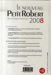 Petit Robert de langue française (édition 2008) - 4ème de couverture - Format classique