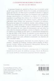 L'ancienne bourgeoisie en France du XVI au XX siècle - 4ème de couverture - Format classique