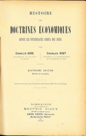 HISTOIRE DE DOCTRINES ÉCONOMIQUES DEPUIS LES PHYSIOCRATES JUSQU'À NOS JOURS, 4èmeéd. revue et corrigée - Couverture - Format classique