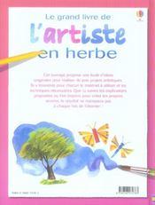 Le grand livre de l'artiste en herbe - 4ème de couverture - Format classique