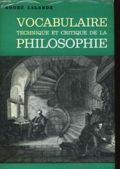 Vocabulaire Technique Et Critique De La Philosophie - Couverture - Format classique