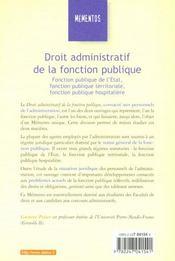 Droit Administratif ; Fonction Publique De L'Etat ; Territoriale Et Hospitaliere ; 16e Edition - 4ème de couverture - Format classique