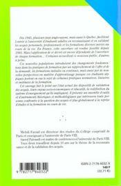 Reconnaissance Et Validation Des Acquis En Formation - 4ème de couverture - Format classique