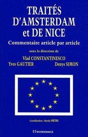 Traités d'Amsterdam et de Nice ; commentaire article par article - Couverture - Format classique