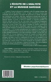 L'écoute de l'analyste et la musique baroque - 4ème de couverture - Format classique