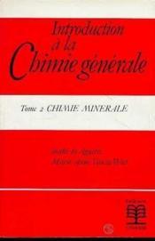 Introduction à la chimie générale t.2 - Couverture - Format classique