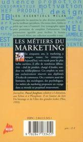 Les metiers du marketing - 4ème de couverture - Format classique