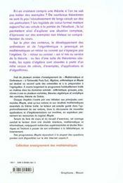 Algebre arithmetique et maple - 4ème de couverture - Format classique