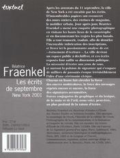 Les écrits de septembre ; new york 2001 - 4ème de couverture - Format classique