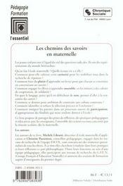 Chemins Des Savoirs En Maternelle - 4ème de couverture - Format classique