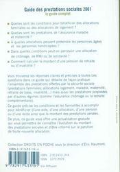 Guides des prestations sociales 2001 - 4ème de couverture - Format classique