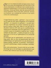 Les Mathematiques Du Mieux Faire Volume 1 Premiers Pas En Optimisation - 4ème de couverture - Format classique