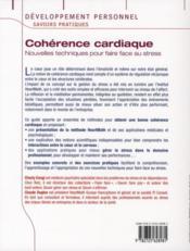 Cohérence cardiaque ; nouvelles techniques pour faire face au stress - 4ème de couverture - Format classique