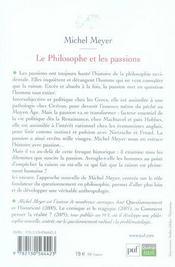 Le philosophe et les passions - 4ème de couverture - Format classique