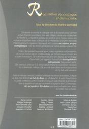 Regulation economique et democratie - 1ere edition - 4ème de couverture - Format classique