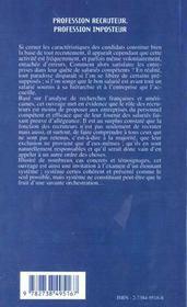 Profession Recruteur ; Profession Imposteur - 4ème de couverture - Format classique