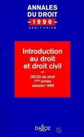 Introduction Au Droit Et Droit Civil - Couverture - Format classique