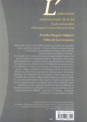 Elaboration parlementaire de la loi. etude comparat. (allemag, france, royaume-uni) - 4ème de couverture - Format classique