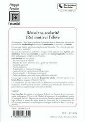 Reussir Sa Scolarite - 4ème de couverture - Format classique