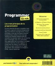 Programmer pour les nuls (4e édition) - 4ème de couverture - Format classique
