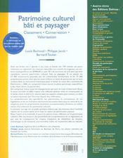 Patrimoine culturel, bati et paysager. classement . conservation . valorisation - 1ere ed. - 4ème de couverture - Format classique