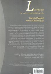 Les objectifs de valeur constitutionnelle - 1ere ed. - 4ème de couverture - Format classique