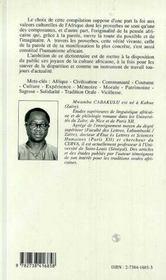 Dictionnaire des proverbes africains - 4ème de couverture - Format classique