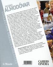 Pedro Almodovar - 4ème de couverture - Format classique