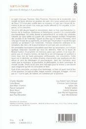 Sujets A Croire. Questions De Theologie Et De Psychanalyse. En Hommag E A Roland Sublon - 4ème de couverture - Format classique