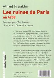 Les ruines de Paris en 4908 - 4ème de couverture - Format classique