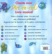 Chante avec arc-en-ciel livre musical - 4ème de couverture - Format classique