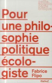 Pour une philosophie politique écologiste - Couverture - Format classique