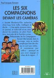 Les six compagnons - t16 - les six compagnons 16 - les six compagnons devant les cameras - 4ème de couverture - Format classique