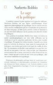 Le sage et la politique - ecrits moraux sur la vieillesse et la douceur - 4ème de couverture - Format classique