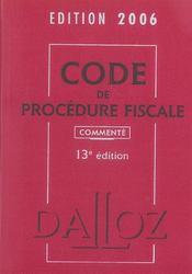 Code De Procedure Fiscale 2006 Commente - Intérieur - Format classique
