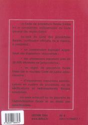 Code De Procedure Fiscale 2006 Commente - 4ème de couverture - Format classique