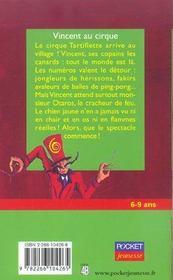 Vincent au cirque - 4ème de couverture - Format classique