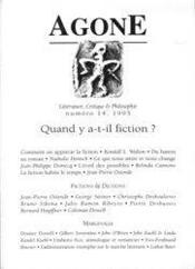 REVUE AGONE T.14 ; quand y a-t-il fictions ? - Couverture - Format classique