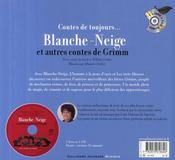 Blanche-Neige ; et autres contes de Grimm - 4ème de couverture - Format classique