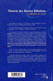 Théorie des hautes dilutions ; application au vivant - 4ème de couverture - Format classique