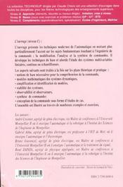 Automatique Ingenierie De La Commande Des Systemes Techniques De Base - 4ème de couverture - Format classique
