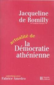 Actualité de la démocratie athénienne - Couverture - Format classique