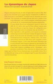 La Dynamique Du Japon - Histoire De La Premiere Modernite D'Asie - 4ème de couverture - Format classique
