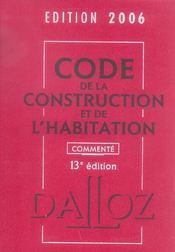 Code De La Construction Et De L'Habitation 2006 Commente - Intérieur - Format classique
