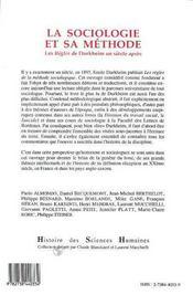 La sociologie et sa methode - les regles de durkheim un siecle apres - 4ème de couverture - Format classique