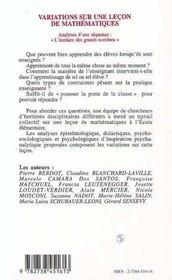 Variations Sur Une Lecon De Mathematiques - 4ème de couverture - Format classique