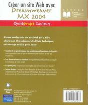Creer une page web avec dreamweaver mx 2004 - 4ème de couverture - Format classique
